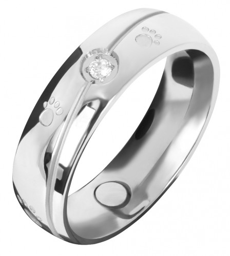 1390 Magnet Ring Pfote m. Zirkonia Größe: 18 ca. 18 mm (ca.57)
