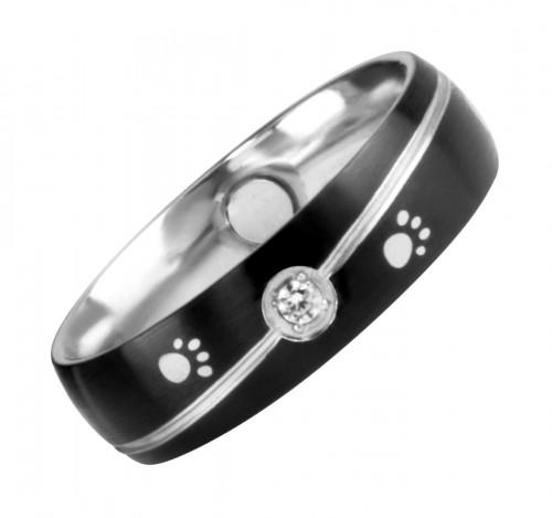 1391 Magnet Ring Pfote m. Zirkonia