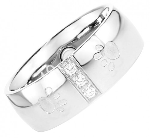 2096 Magnet Ring Pfote m. Zirkonia Größe: 16 ca. 16 mm (ca.50,5)